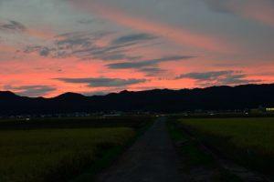 日没後の夕陽